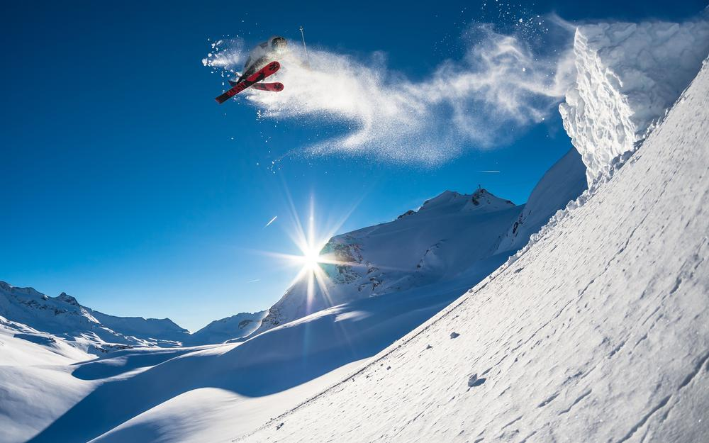 Extreme sports, jump, snow, skiing, sun