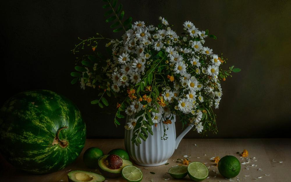 Bouquet of daisies, watermelon, avocado, lime, still life pictures, wallpaper