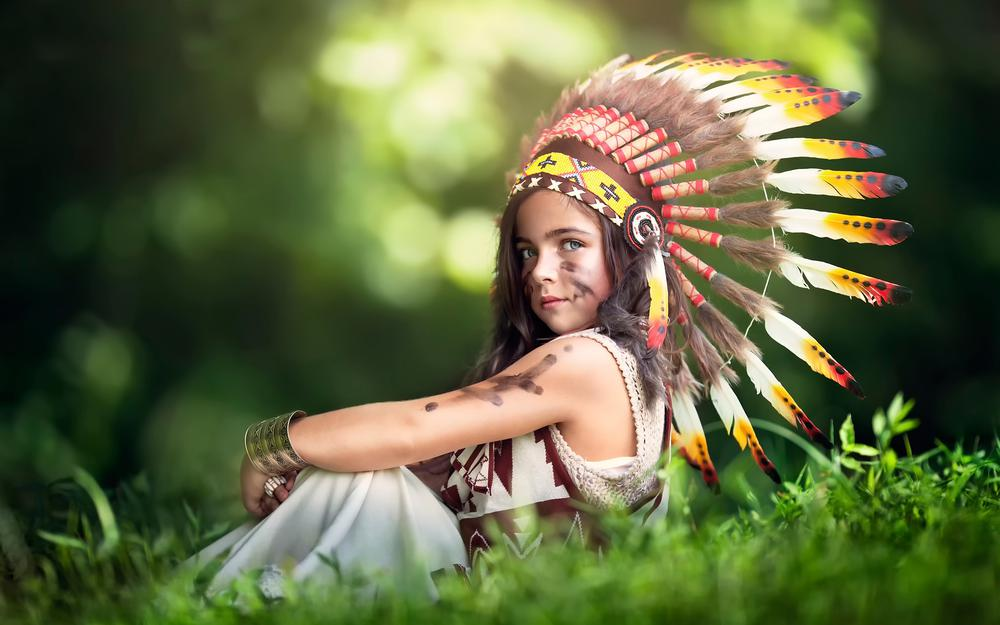 Feathers, girl, hat, littlest indian