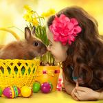 The little girl and cute little bunny wallpaper