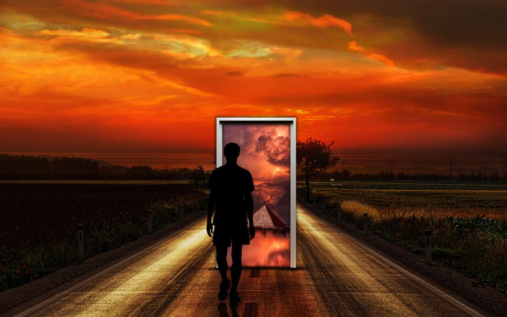 Door, surrealism, man