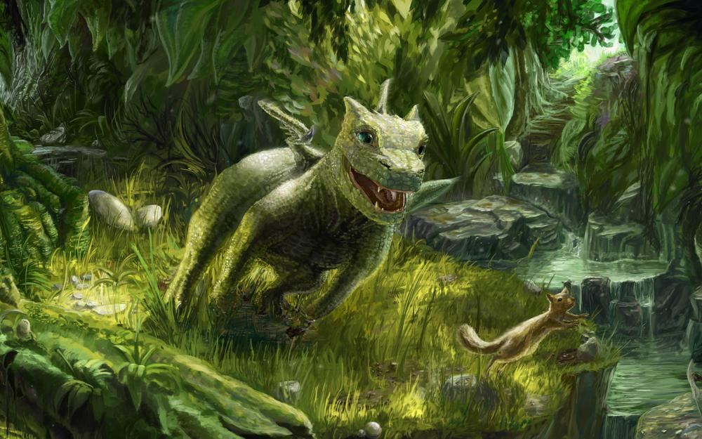 Dragon, small, game, squirrel, green wallpaper