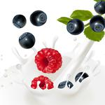 Milk, spray, blueberry, leaves, malinka