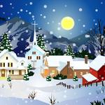 Full moon, church, snow, night, home wallpaper