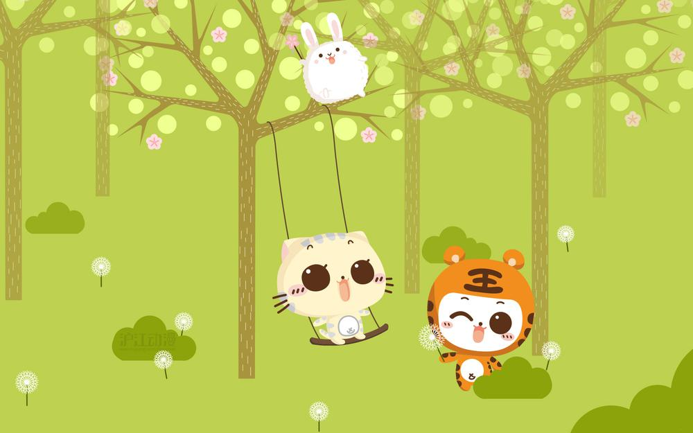 Cc cat, big face, eat goods, spring, swing, cute, illustration, forests, trees, wallpaper