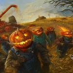 Field, holiday, halloween, people, pumpkin, grain