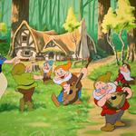 A cartoon house with the dwarves, snow white and the seven dwarfs