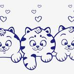 Kittens, vector, view, animals, hearts