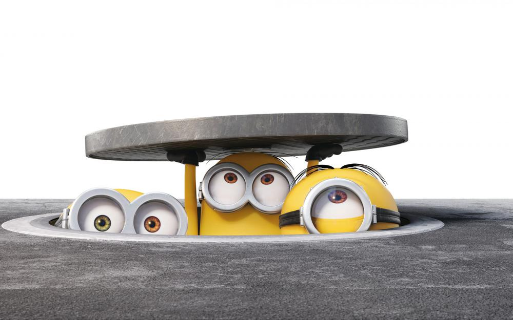 Despicable me, cute little yellow people, open the covers, funny face, little yellow man desktop wallpaper