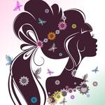 Person, silhouette, hair, flowers, butterflies, girl, eyelashes, profile
