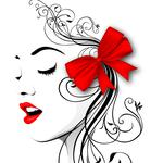 Abstract, lips, bow, girl, line, face