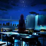 Girl back, ruins, classrooms, desks, animation desktop wallpaper