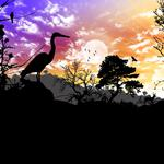 Sky, clouds, deer, landscape, collage, animals, sunset, bird, silhouette, nature, trees