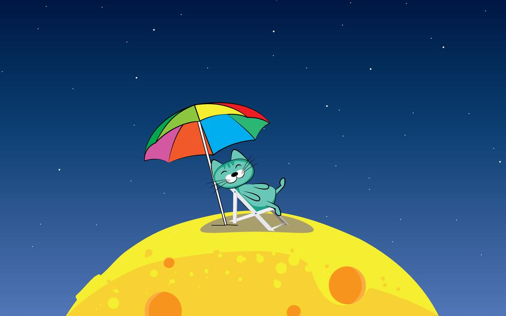 Earth is too hot, the cat went to the moon wallpaper