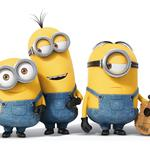 The latest three cute little yellow people, lovely shape, movement facial expressions, eye contact, guitar music, plush toys, small yellow people wallpaper