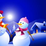 Vector, snowman, new year, christmas, winter, night, house