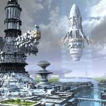 Spaceport, city, boats, trees