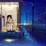 Art table, rain, light, house, night, haraguroi you, girl, railroad, sitting