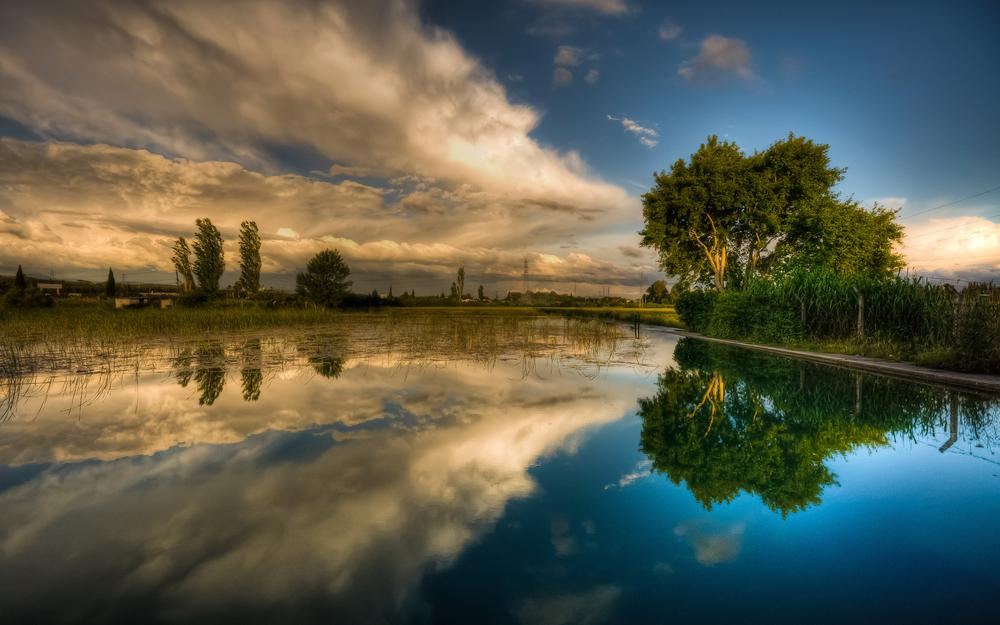 Spring, lake, clouds, sky, trees, summer
