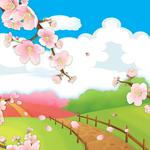 Baby, spring, cartoons, cherry, road, clouds