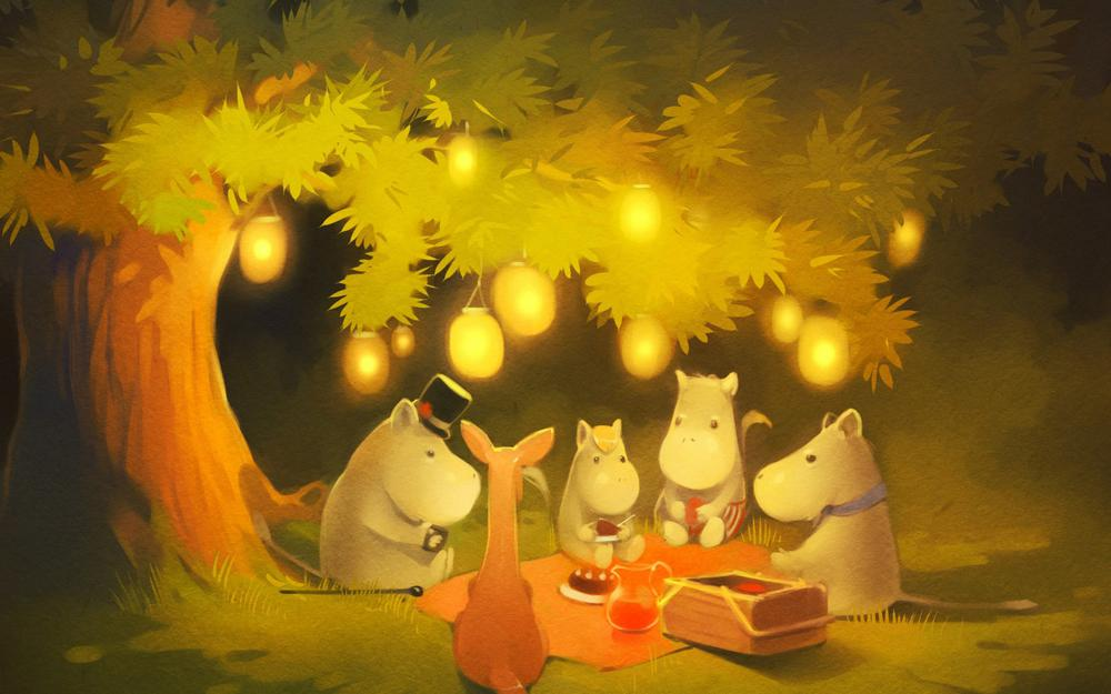 Forest, night, trees, lights, party animal, cute painting, wallpaper