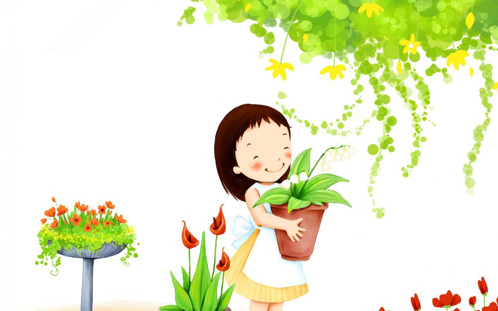 Girl, smiling, leaves, flowers, happy children's day cute wallpaper