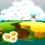 Vector, ears, daisies, nature, field, mill, birds, clouds, flowers, sky