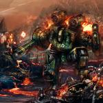 Fire robot lava, soldiers, explosions, fighting, war