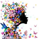 Abstract, flowers, abstraction, butterflies, birds, flowers, butterflies, girl, girl, birds