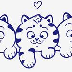 Three kittens, eyes, love, animal, cat vector images, wallpaper cute cats