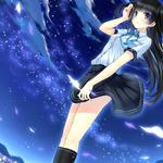 Stars, flowers, girls, girls, sky, fantasy cartoon wallpaper