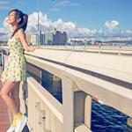 City, summer, sun, girl, dress, cute beautiful wallpaper
