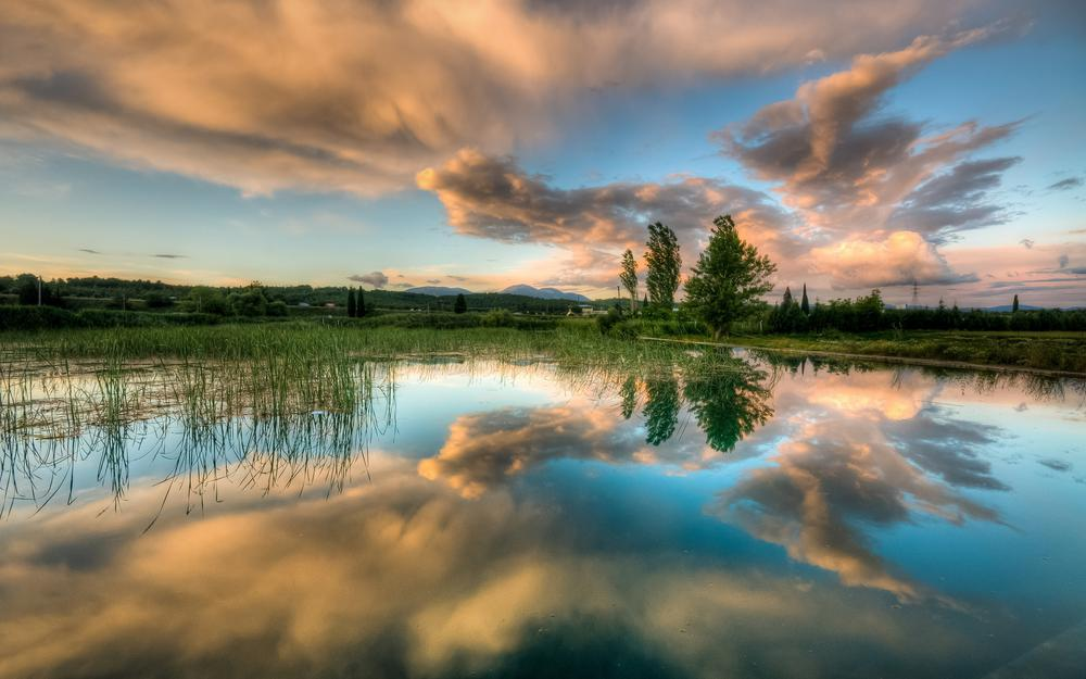 Sky, spring, trees, clouds, water, lake, reflection