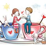 Cup, love, couple, rabbits