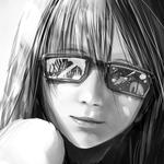 Girl, smile, negligence in the hair, shoulders, glasses, eyes, black and white
