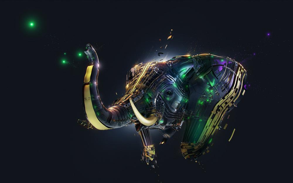 Abstraction, tusks, elephant