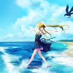 Sandy beach, beauty, girl, breathe, birds, boots, anime wallpaper