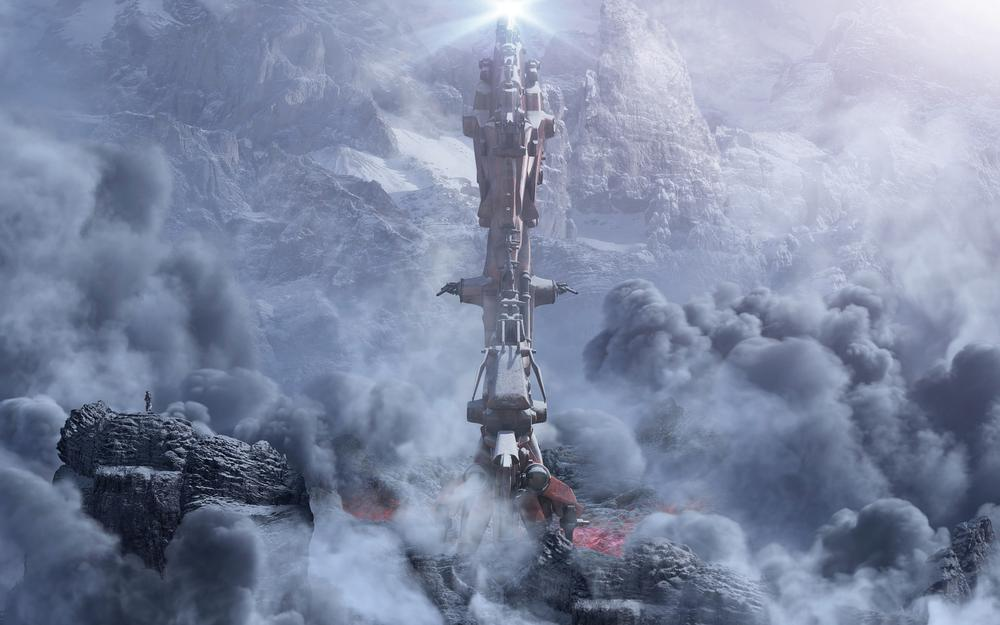 Clouds, mountains, tower, second contact