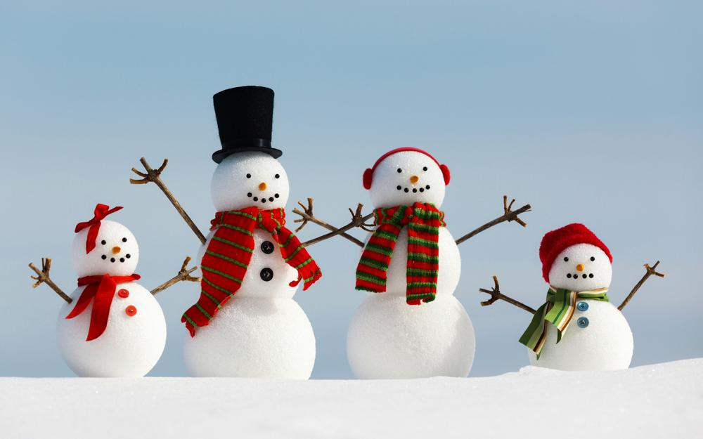 Four snowman, merry christmas, happy new year, winter, snow, wallpaper