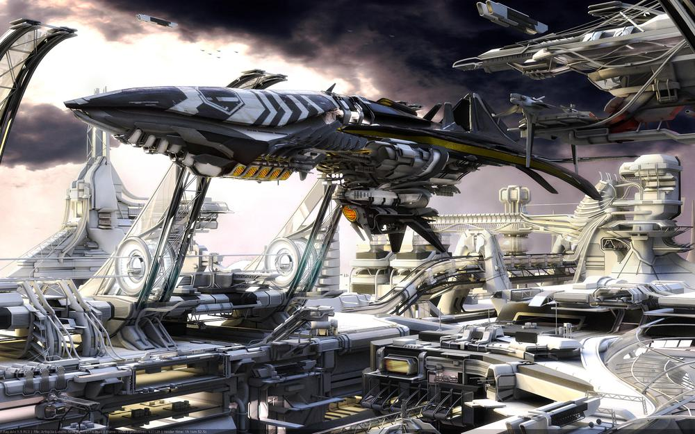 The ship, the future, sky, space-port