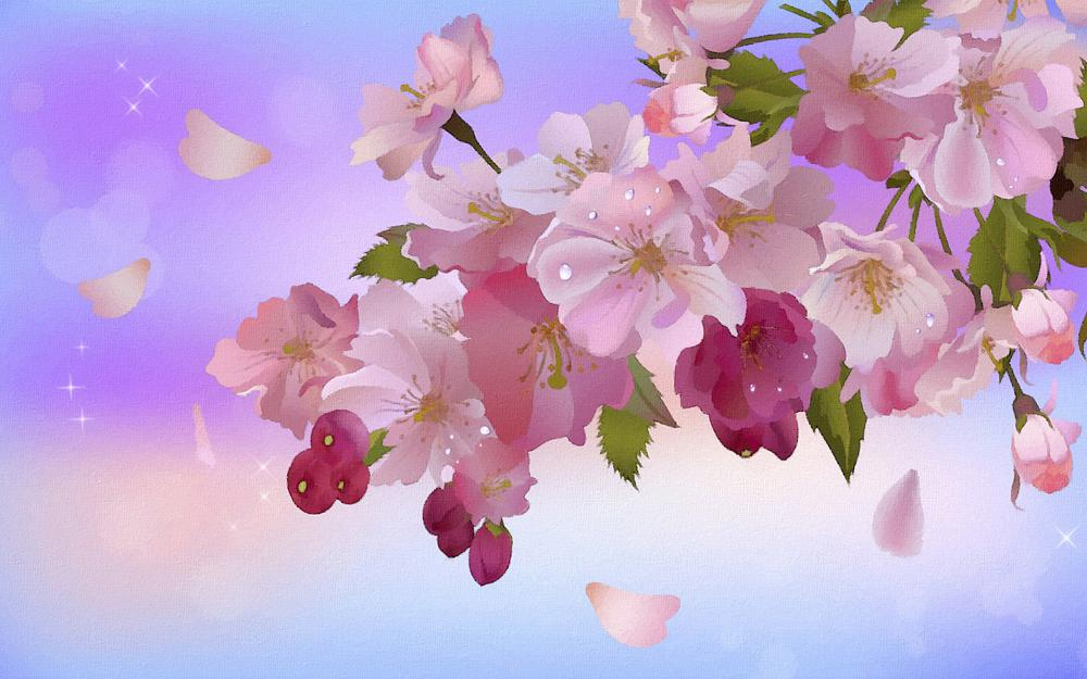 Leaves, petals, buds, bokeh, apple blossoms, stars, branch