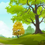 Nature, trees, grass, landscape, sky, clouds, road, vector drawing wallpapers