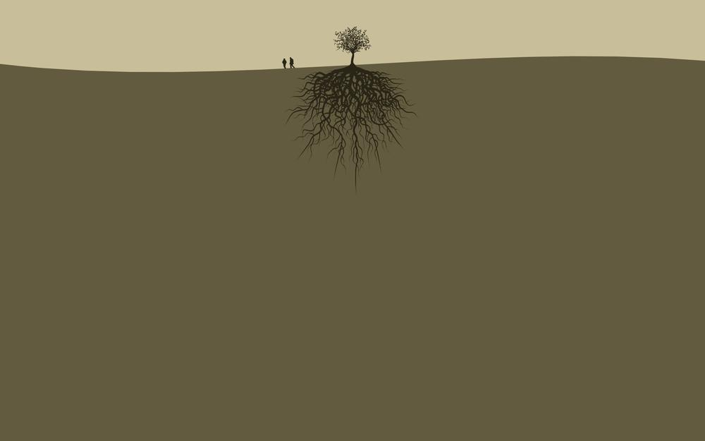 Trees, couple, people, land, roots hd wallpaper