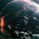 Asteroids, light, planets, collision wallpaper