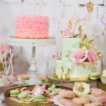Cake, assorted cakes, flowers