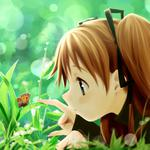 Anime, girl, grass, butterfly, summer