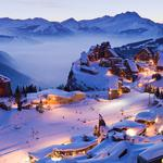 Mountains, snow, winter, town, lights, bing latest wallpapers