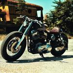 Motorcycle, side view, shadow