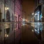 Lights, night, street, czech, puddle, water, house