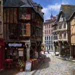 Picture, europe, street, houses, shops, sung sam park